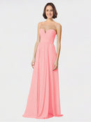 Mila Queen Krista Bridesmaid Dress Salmon - A-Line Sweetheart Spaghetti Straps Long Bridesmaid Gown Krista in Salmon
