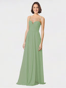 Mila Queen Krista Bridesmaid Dress Seagrass - A-Line Sweetheart Spaghetti Straps Long Bridesmaid Gown Krista in Seagrass