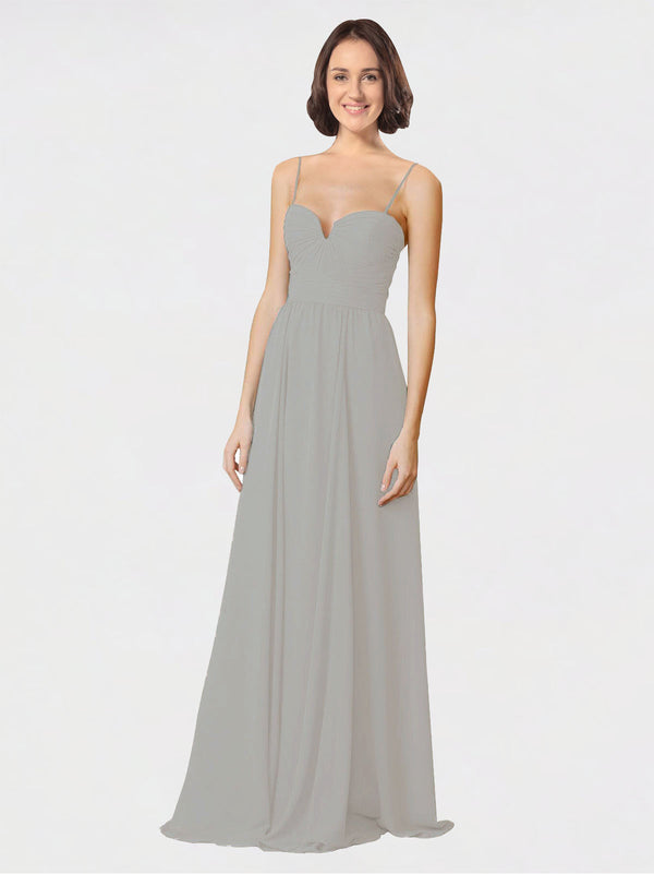 Mila Queen Krista Bridesmaid Dress Silver - A-Line Sweetheart Spaghetti Straps Long Bridesmaid Gown Krista in Silver