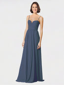 Mila Queen Krista Bridesmaid Dress Silver Stone - A-Line Sweetheart Spaghetti Straps Long Bridesmaid Gown Krista in Silver Stone