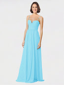 Mila Queen Krista Bridesmaid Dress Sky Blue - A-Line Sweetheart Spaghetti Straps Long Bridesmaid Gown Krista in Sky Blue
