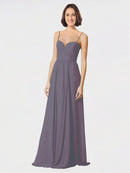Mila Queen Krista Bridesmaid Dress Slate Grey - A-Line Sweetheart Spaghetti Straps Long Bridesmaid Gown Krista in Slate Grey