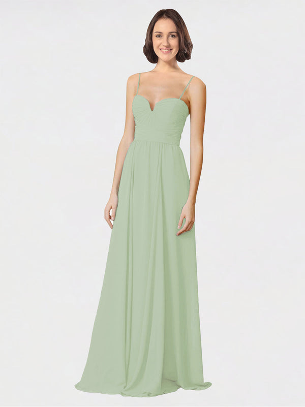 Mila Queen Krista Bridesmaid Dress Smoke Green - A-Line Sweetheart Spaghetti Straps Long Bridesmaid Gown Krista in Smoke Green