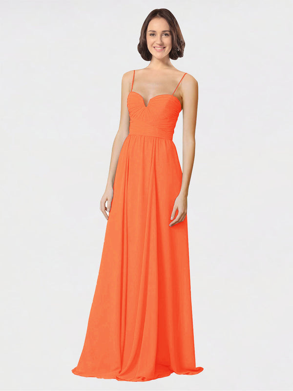 Mila Queen Krista Bridesmaid Dress Tangerine Tango - A-Line Sweetheart Spaghetti Straps Long Bridesmaid Gown Krista in Tangerine Tango