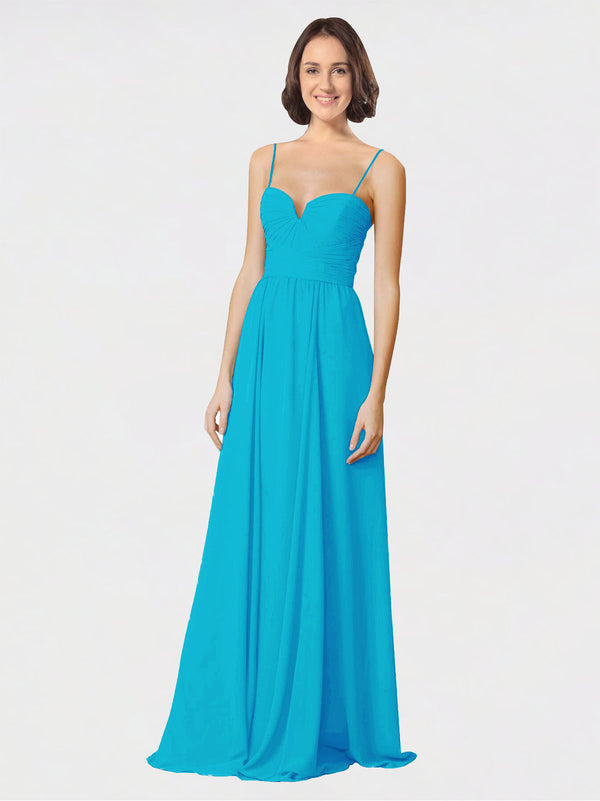 Mila Queen Krista Bridesmaid Dress Turquoise - A-Line Sweetheart Spaghetti Straps Long Bridesmaid Gown Krista in Turquoise