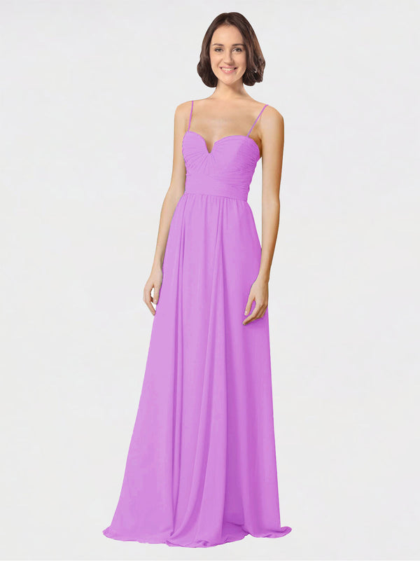 Mila Queen Krista Bridesmaid Dress Violet - A-Line Sweetheart Spaghetti Straps Long Bridesmaid Gown Krista in Violet