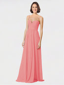 Mila Queen Krista Bridesmaid Dress Watermelon - A-Line Sweetheart Spaghetti Straps Long Bridesmaid Gown Krista in Watermelon