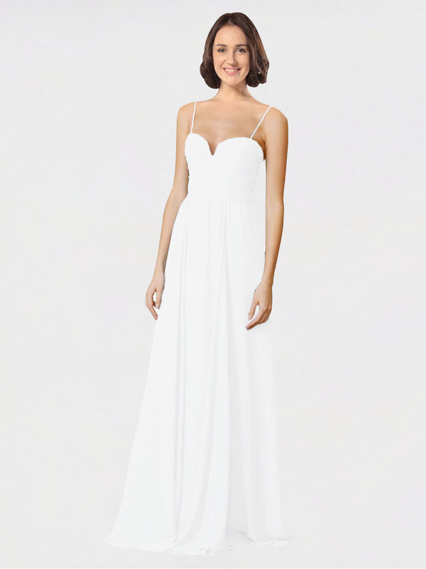 Mila Queen Krista Bridesmaid Dress White - A-Line Sweetheart Spaghetti Straps Long Bridesmaid Gown Krista in White