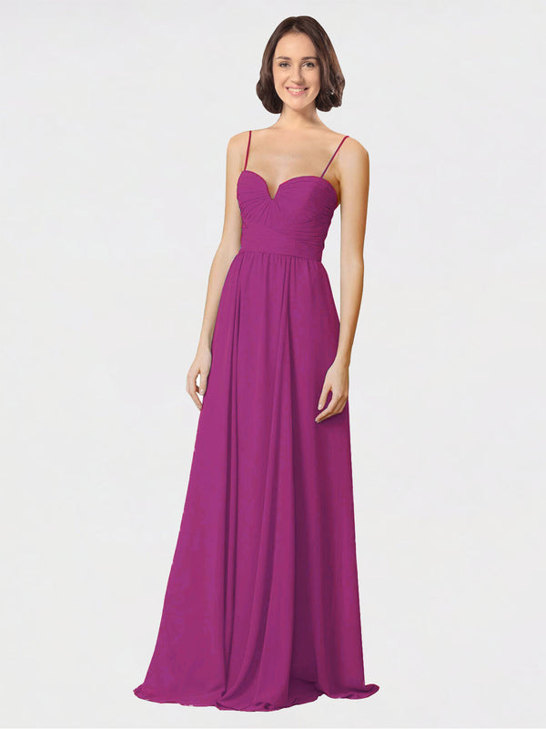 Mila Queen Krista Bridesmaid Dress Wild Berry - A-Line Sweetheart Spaghetti Straps Long Bridesmaid Gown Krista in Wild Berry