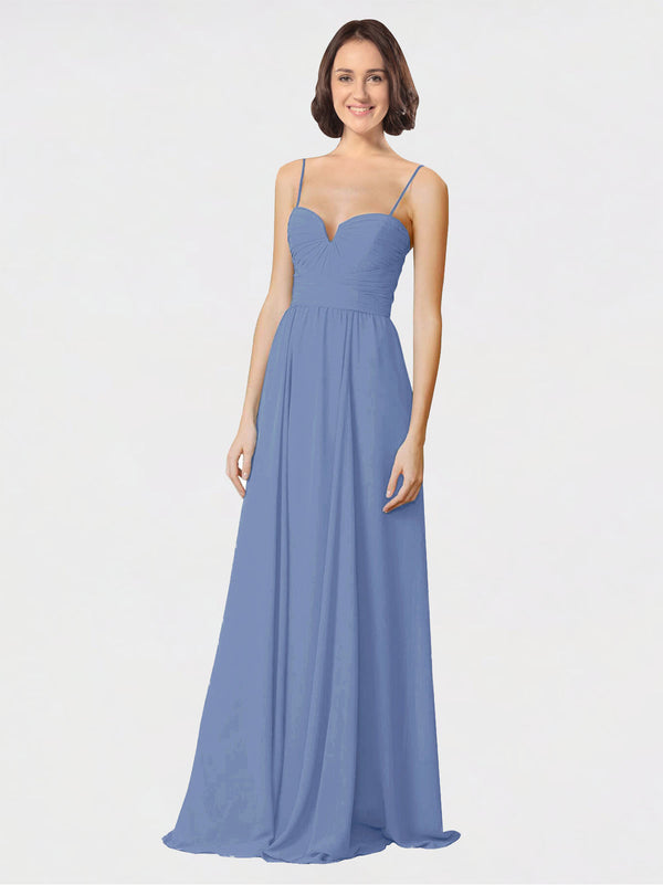 Mila Queen Krista Bridesmaid Dress Windsor Blue - A-Line Sweetheart Spaghetti Straps Long Bridesmaid Gown Krista in Windsor Blue