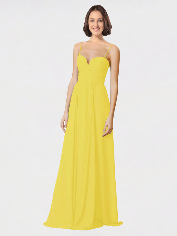 Mila Queen Krista Bridesmaid Dress Yellow - A-Line Sweetheart Spaghetti Straps Long Bridesmaid Gown Krista in Yellow