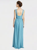 A-Line V-Neck Halter Spaghetti Straps Floor Length Long Sky Blue Tulle Bridesmaid Dress Bridget