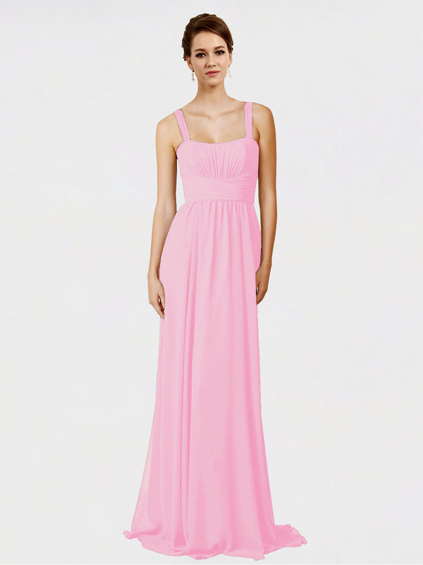 Mila Queen Aurelia Bridesmaid Dress Barely Pink - A-Line Spaghetti Straps Long Bridesmaid Gown Aurelia in Barely Pink