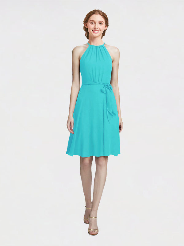 Mila Queen Elyse Bridesmaid Dress Aqua - A-Line High Neck Halter Short Bridesmaid Gown Elyse in Aqua