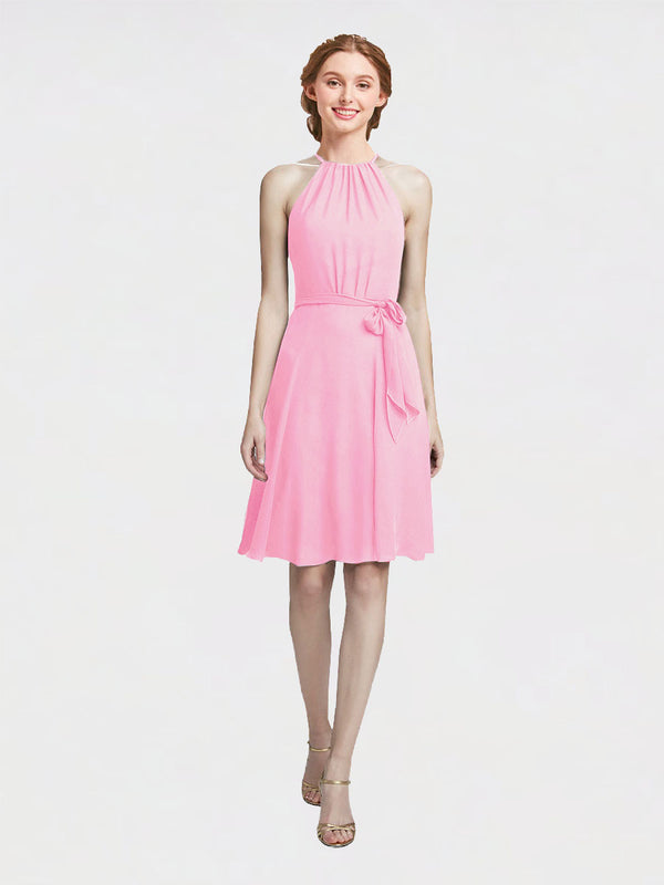 Mila Queen Elyse Bridesmaid Dress Barely Pink - A-Line High Neck Halter Short Bridesmaid Gown Elyse in Barely Pink