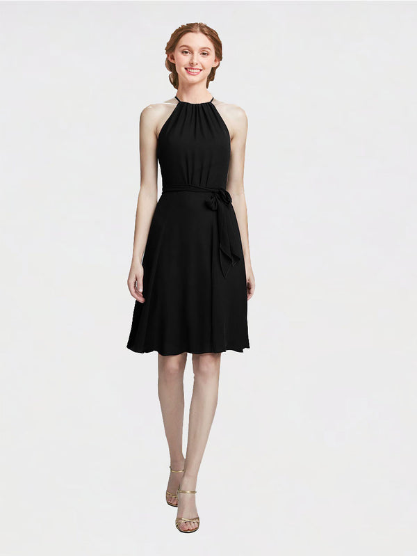 Mila Queen Elyse Bridesmaid Dress Black - A-Line High Neck Halter Short Bridesmaid Gown Elyse in Black