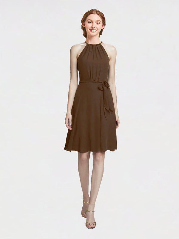 Mila Queen Elyse Bridesmaid Dress Brown - A-Line High Neck Halter Short Bridesmaid Gown Elyse in Brown