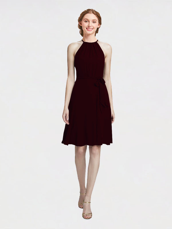 Mila Queen Elyse Bridesmaid Dress Burgundy Gold - A-Line High Neck Halter Short Bridesmaid Gown Elyse in Burgundy Gold