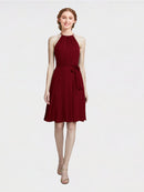 Mila Queen Elyse Bridesmaid Dress Burgundy - A-Line High Neck Halter Short Bridesmaid Gown Elyse in Burgundy