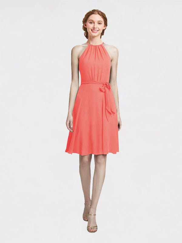 Mila Queen Elyse Bridesmaid Dress Coral - A-Line High Neck Halter Short Bridesmaid Gown Elyse in Coral