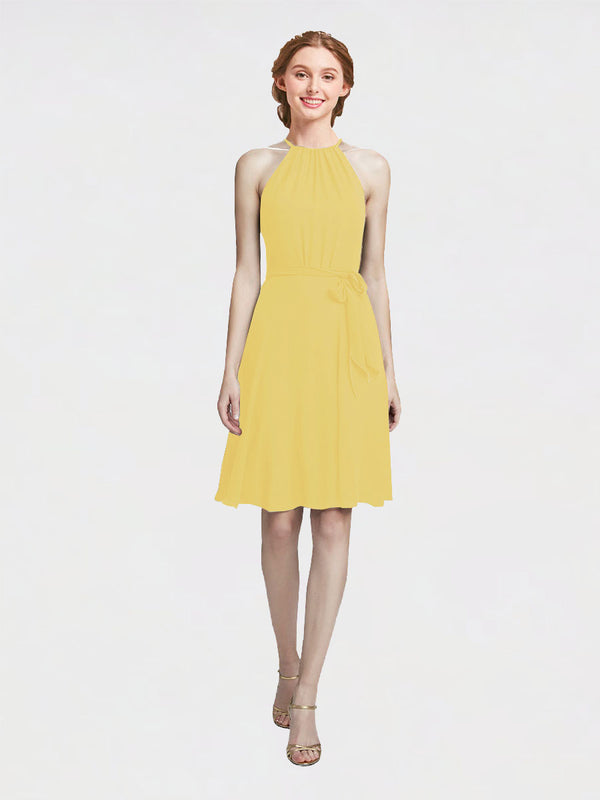 Mila Queen Elyse Bridesmaid Dress Daffodil - A-Line High Neck Halter Short Bridesmaid Gown Elyse in Daffodil