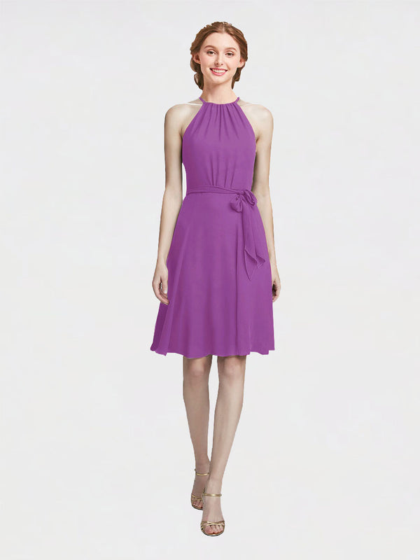Mila Queen Elyse Bridesmaid Dress Dahlia - A-Line High Neck Halter Short Bridesmaid Gown Elyse in Dahlia