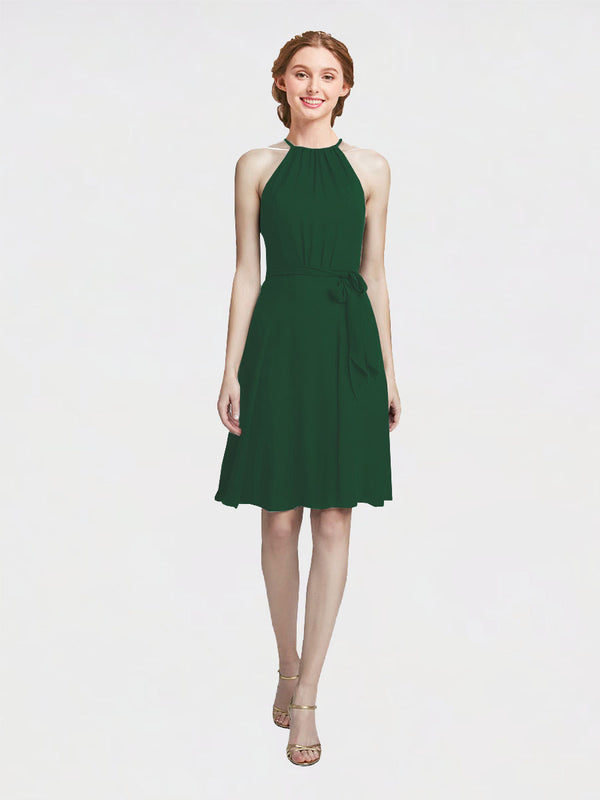 Mila Queen Elyse Bridesmaid Dress Dark Green - A-Line High Neck Halter Short Bridesmaid Gown Elyse in Dark Green