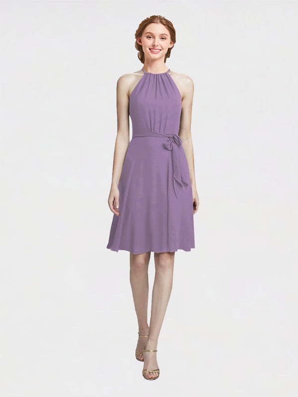 Mila Queen Elyse Bridesmaid Dress Dark Lavender - A-Line High Neck Halter Short Bridesmaid Gown Elyse in Dark Lavender