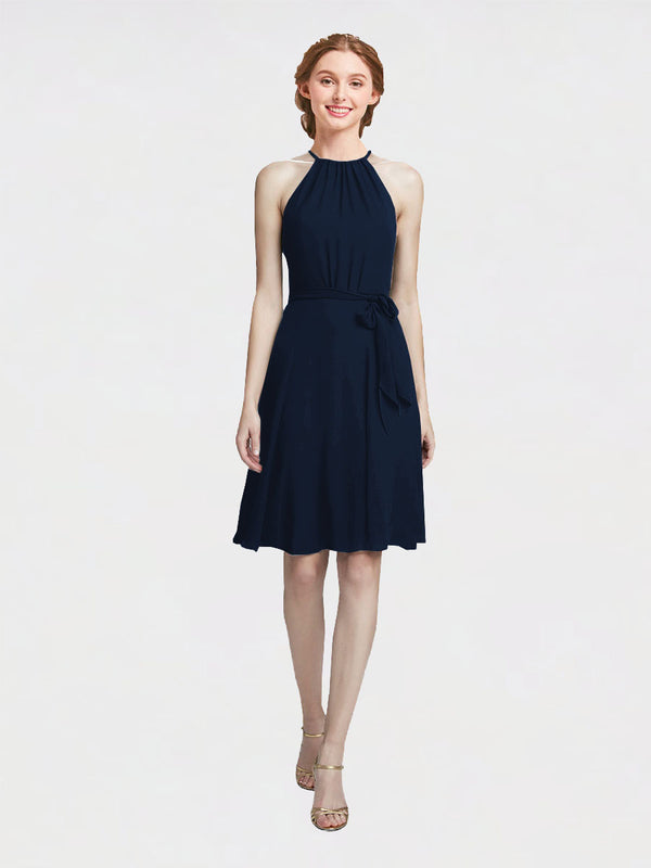 Mila Queen Elyse Bridesmaid Dress Dark Navy - A-Line High Neck Halter Short Bridesmaid Gown Elyse in Dark Navy