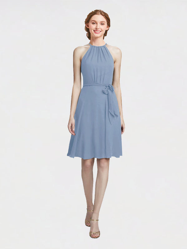 Mila Queen Elyse Bridesmaid Dress Dusty Blue - A-Line High Neck Halter Short Bridesmaid Gown Elyse in Dusty Blue