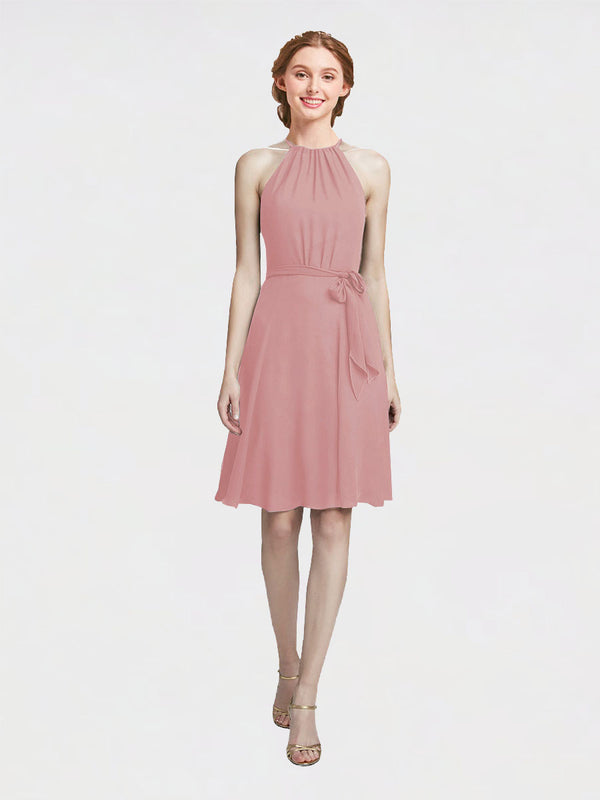 Mila Queen Elyse Bridesmaid Dress Dusty Pink - A-Line High Neck Halter Short Bridesmaid Gown Elyse in Dusty Pink