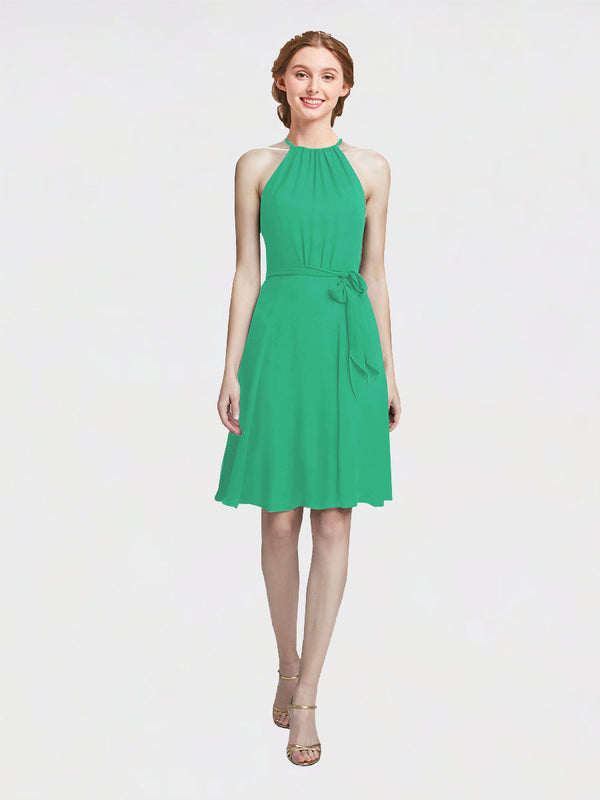 Mila Queen Elyse Bridesmaid Dress Emerald Green - A-Line High Neck Halter Short Bridesmaid Gown Elyse in Emerald Green