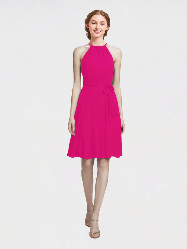 Mila Queen Elyse Bridesmaid Dress Fuchsia - A-Line High Neck Halter Short Bridesmaid Gown Elyse in Fuchsia