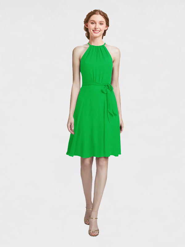 Mila Queen Elyse Bridesmaid Dress Green - A-Line High Neck Halter Short Bridesmaid Gown Elyse in Green