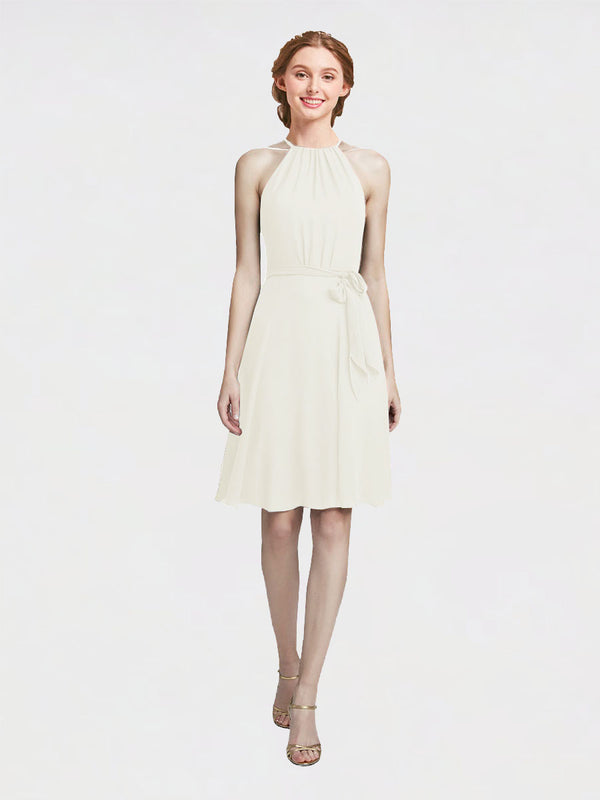 Mila Queen Elyse Bridesmaid Dress Ivory - A-Line High Neck Halter Short Bridesmaid Gown Elyse in Ivory