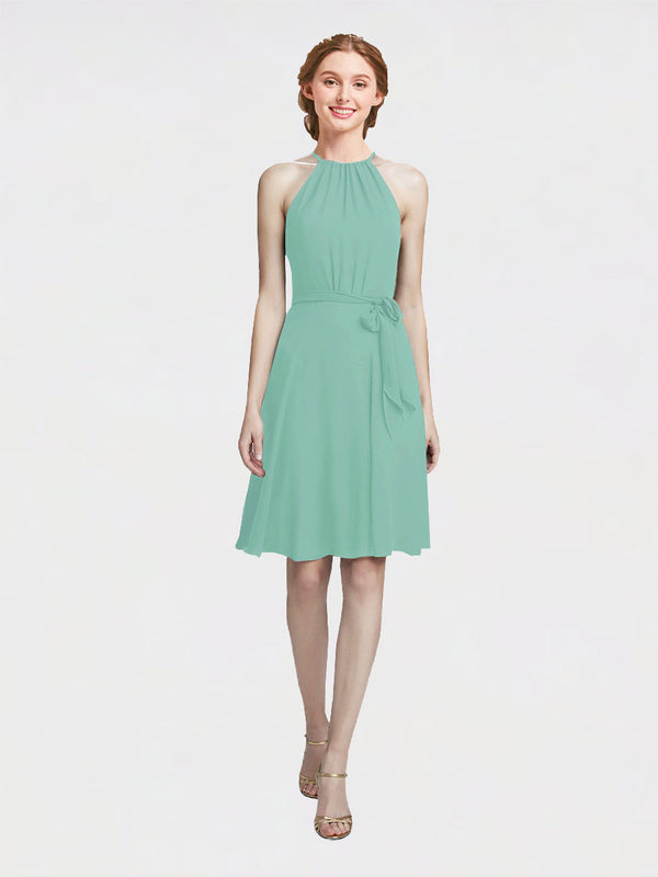 Mila Queen Elyse Bridesmaid Dress Jade - A-Line High Neck Halter Short Bridesmaid Gown Elyse in Jade