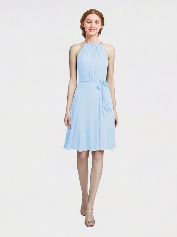 Mila Queen Elyse Bridesmaid Dress Light Sky Blue - A-Line High Neck Halter Short Bridesmaid Gown Elyse in Light Sky Blue
