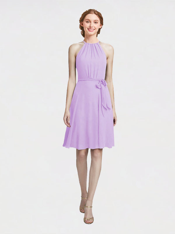 Mila Queen Elyse Bridesmaid Dress Lilac - A-Line High Neck Halter Short Bridesmaid Gown Elyse in Lilac