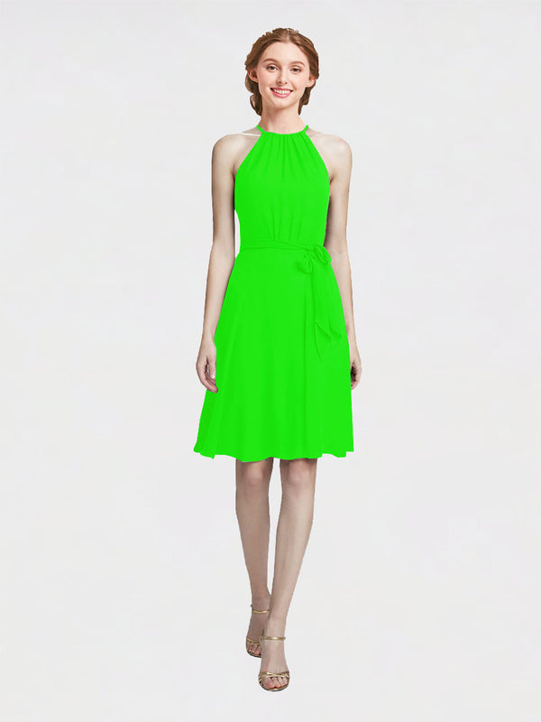 Mila Queen Elyse Bridesmaid Dress Lime Green - A-Line High Neck Halter Short Bridesmaid Gown Elyse in Lime Green
