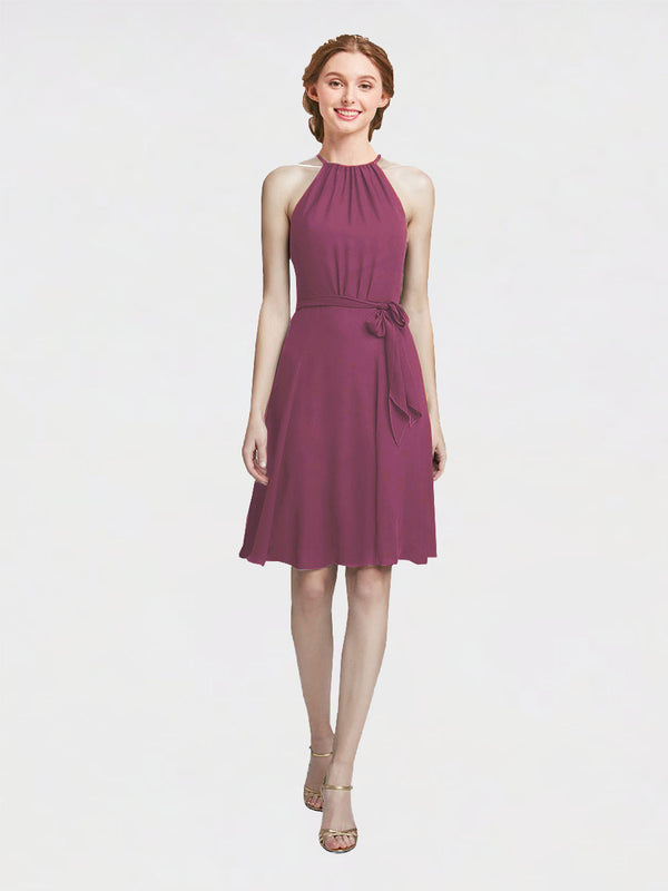 Mila Queen Elyse Bridesmaid Dress Mauve Taupe - A-Line High Neck Halter Short Bridesmaid Gown Elyse in Mauve Taupe