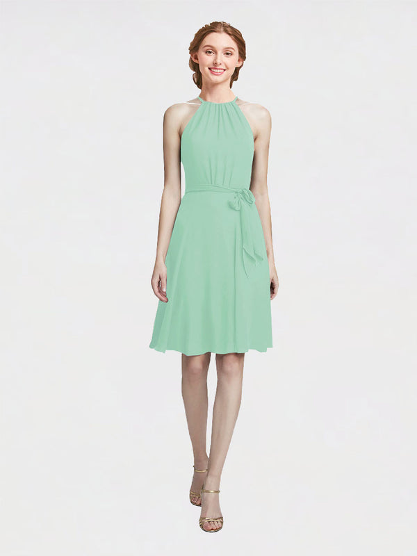 Mila Queen Elyse Bridesmaid Dress Mint Green - A-Line High Neck Halter Short Bridesmaid Gown Elyse in Mint Green