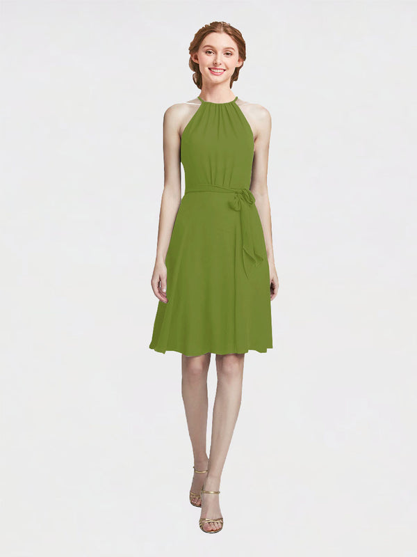 Mila Queen Elyse Bridesmaid Dress Olive Green - A-Line High Neck Halter Short Bridesmaid Gown Elyse in Olive Green
