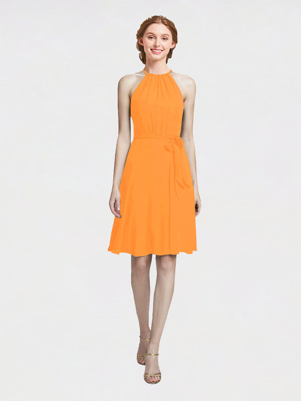 Mila Queen Elyse Bridesmaid Dress Orange - A-Line High Neck Halter Short Bridesmaid Gown Elyse in Orange