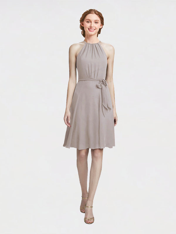 Mila Queen Elyse Bridesmaid Dress Oyster Silver - A-Line High Neck Halter Short Bridesmaid Gown Elyse in Oyster Silver