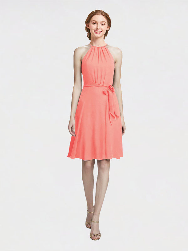 Mila Queen Elyse Bridesmaid Dress Peach - A-Line High Neck Halter Short Bridesmaid Gown Elyse in Peach