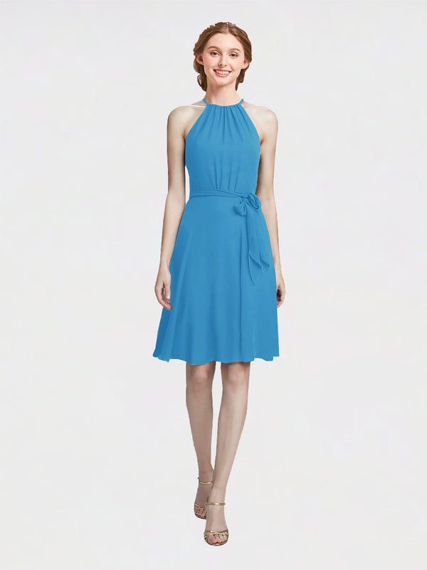 Mila Queen Elyse Bridesmaid Dress Peacock Blue - A-Line High Neck Halter Short Bridesmaid Gown Elyse in Peacock Blue