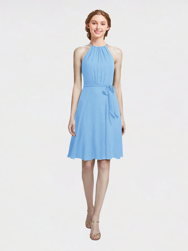Mila Queen Elyse Bridesmaid Dress Periwinkle - A-Line High Neck Halter Short Bridesmaid Gown Elyse in Periwinkle