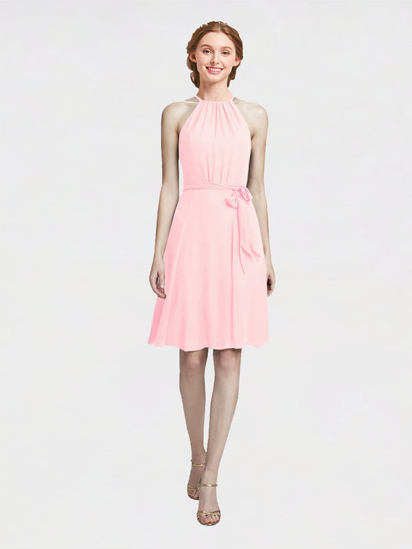 Mila Queen Elyse Bridesmaid Dress Pink - A-Line High Neck Halter Short Bridesmaid Gown Elyse in Pink