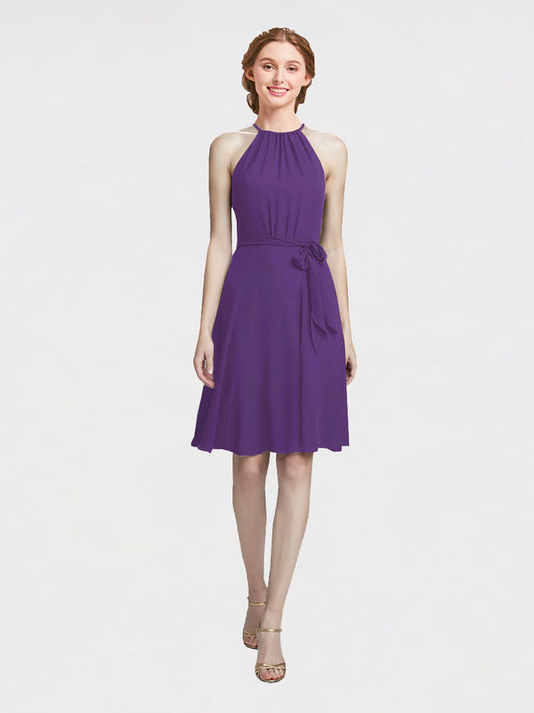 Mila Queen Elyse Bridesmaid Dress Plum Purple - A-Line High Neck Halter Short Bridesmaid Gown Elyse in Plum Purple