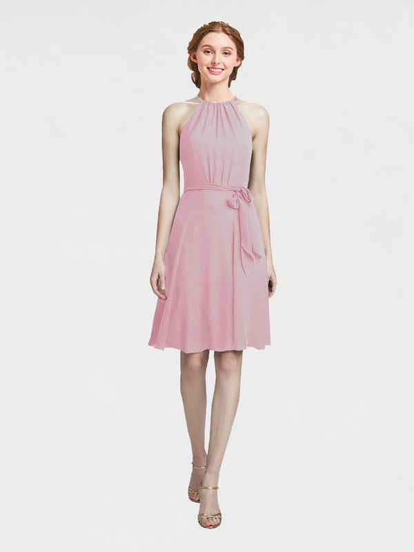 Mila Queen Elyse Bridesmaid Dress Primrose - A-Line High Neck Halter Short Bridesmaid Gown Elyse in Primrose